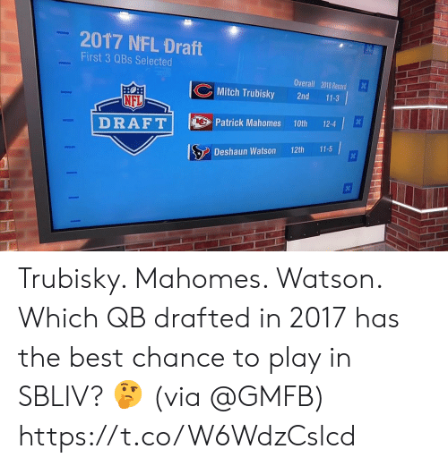 Memes, Nfl, and NFL Draft: 2017 NFL Draft  First 3 QBs Selected  Overall 2018 Record  Mitch Trubisky 2nd 11-3  NFL  DRAFTPatric Mahomes 10th124  Deshaun Watson 12th 11-5 Trubisky. Mahomes. Watson.  Which QB drafted in 2017 has the best chance to play in SBLIV? 🤔  (via @GMFB) https://t.co/W6WdzCslcd