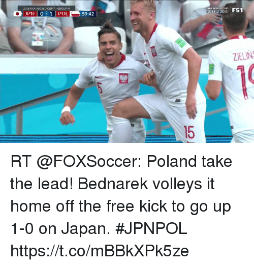 Fifa, Memes, and World Cup: 2018 FIFA WORLD CUP  GROUP H  OPNI 0:11 POI  59:42 |  FIFA WORLD CUP  RUSSI4 2018  IVE  ZIELIN  15 RT @FOXSoccer: Poland take the lead!  Bednarek volleys it home off the free kick to go up 1-0 on Japan. #JPNPOL https://t.co/mBBkXPk5ze