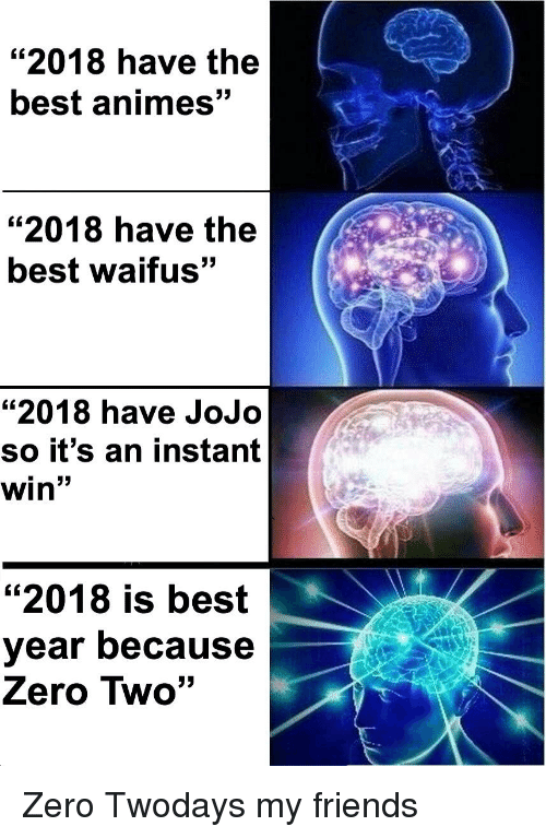"""best animes: """"2018 have the  best animes  53  """"2018 have the  best waifus""""  """"2018 have JoJo  So it's an instant  win""""  """"2018 is best  year because  Zero Two"""""""