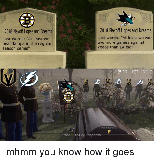 """Logic, Memes, and National Hockey League (NHL): 2018 Playoff Hopes and Dreams  Last Words: """"At least we  beat Tampa in the regular  season series""""  2018 Playoff Hopes and Dreams  Last words: """"At least we won  two more games against  Vegas than LA did'""""  @nhl_ ref_logic  5  Pay Respec  Press F to Pay Respects mhmm you know how it goes"""