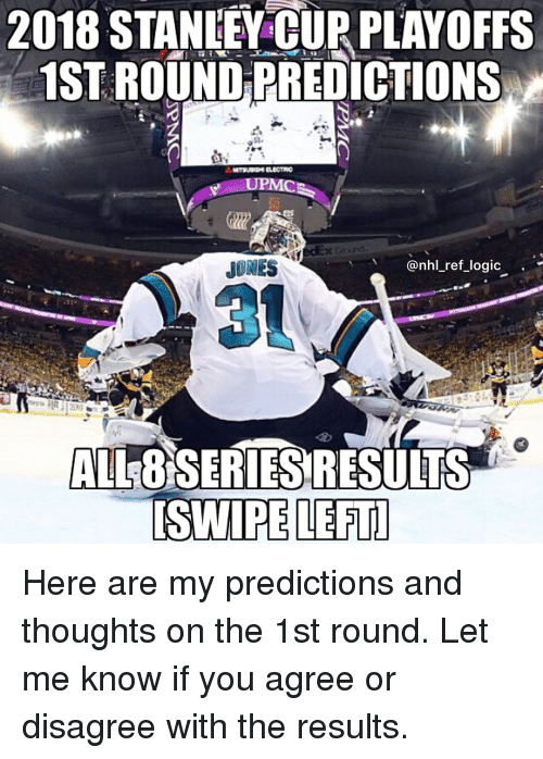 Logic, Memes, and National Hockey League (NHL): 2018 STANIEY CUR PLAYOFFS  1ST ROUND PREDICTIONS  UPMC  JONES  @nhl_ref_logic .'  3  ALL8SERIESRESULTS  ISWIPE LEFT Here are my predictions and thoughts on the 1st round. Let me know if you agree or disagree with the results.