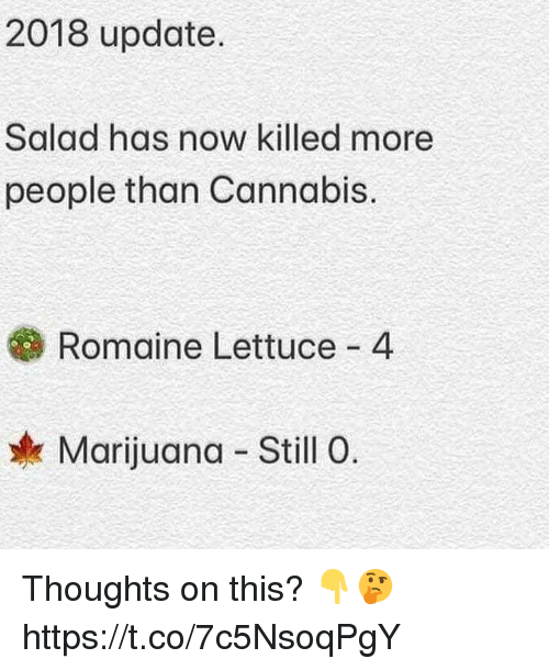 Cannabis: 2018 update.  Salad has now killed more  people than Cannabis.  Romaine Lettuce 4  Marijuana Still 0. Thoughts on this? 👇🤔 https://t.co/7c5NsoqPgY