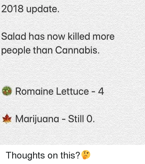 Cannabis: 2018 update.  Salad has now killed more  people than Cannabis.  Romaine Lettuce 4  Marijuana Still O Thoughts on this?🤔