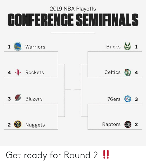 rockets: 2019 NBA Playoffs  CONFERENCE SEMIFINALS  Bucks 1  Warriors  Celtics  4  Rockets  4  76ers 3  Blazers  3  Raptors  2  Nuggets  2 Get ready for Round 2 ‼️