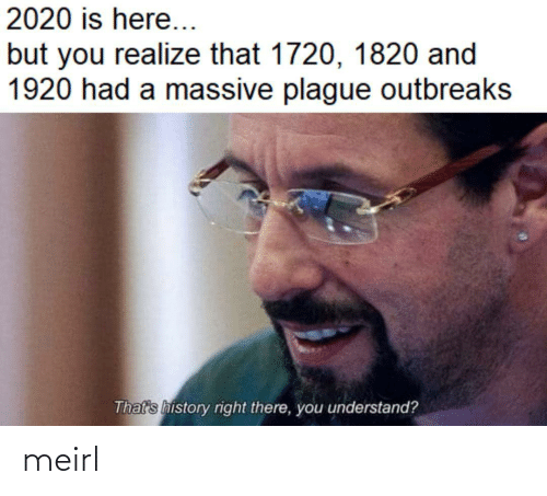 realize: 2020 is here...  but you realize that 1720, 1820 and  1920 had a massive plague outbreaks  That's history right there, you understand? meirl