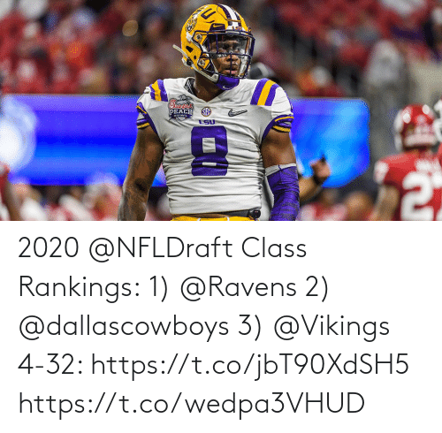 Ravens: 2020 @NFLDraft Class Rankings: 1) @Ravens 2) @dallascowboys 3) @Vikings  4-32: https://t.co/jbT90XdSH5 https://t.co/wedpa3VHUD
