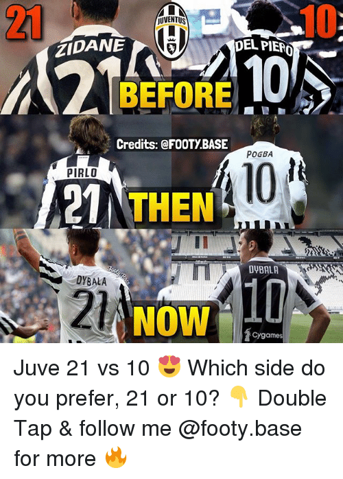 Memes, Juventus, and 🤖: 21  10  JUVENTUS  ZIDANE  DEL PIERO  BEFORE  Credits: @FOOTY.BASE  POGBA  101  PIRLO  21  THEN  DYBALA  DYBALA  21  NOW  Cygames Juve 21 vs 10 😍 Which side do you prefer, 21 or 10? 👇 Double Tap & follow me @footy.base for more 🔥