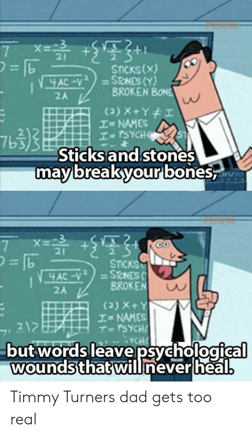 "Dad, Timmy Turner, and Psych: 21  2  STcKs(x  BROKEN BONE  = NAMES  2A  2  7b3  Sticksandstones  mavbreakones  yourb  21  2.  STICKS  = STONES (.  AC-y""  2A  BROKEN  (2) X+  エ= NAMES  T PSYCH  212  butwords leave psychological  woundsthatwillneverlheal. Timmy Turners dad gets too real"