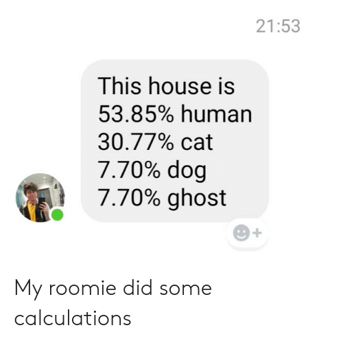 Weed, Ghost, and House: 21:53  This house is  53.85% human  30.77% cat  7.70% dog  7.70% ghost My roomie did some calculations