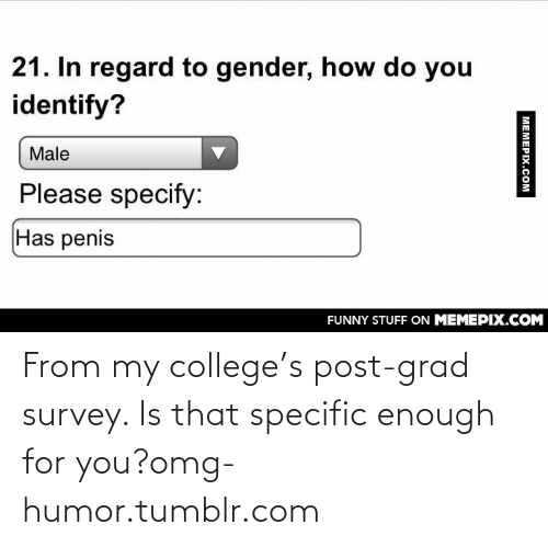 Specify: 21. In regard to gender, how do you  identify?  Male  Please specify:  Has penis  FUNNY STUFF ON MEMEPIX.COM  МЕМЕРIХ.сом From my college's post-grad survey. Is that specific enough for you?omg-humor.tumblr.com