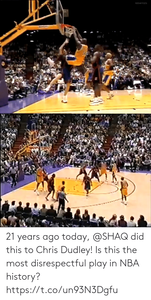 Shaq: 21 years ago today, @SHAQ did this to Chris Dudley!  Is this the most disrespectful play in NBA history? https://t.co/un93N3Dgfu