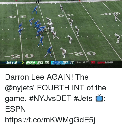 nyjets: 210  2nd &10NYJ 38 DET 17 3RD 6:57 11 MIN Darron Lee AGAIN!  The @nyjets' FOURTH INT of the game. #NYJvsDET #Jets  📺: ESPN https://t.co/mKWMgGdE5j