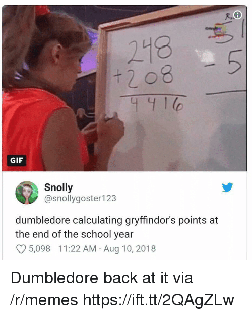 Dumbledore, Gif, and Memes: 218  + 2 08  441  GIF  Snolly  @snollygoster123  dumbledore calculating gryffindor's points at  the end of the school year  O5,098 11:22 AM - Aug 10, 2018 Dumbledore back at it via /r/memes https://ift.tt/2QAgZLw