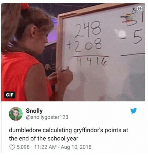 Dumbledore, Gif, and School: 218  GIF  Snolly  @snollygoster123  dumbledore calculating gryffindor's points at  the end of the school year  5,098 11:22 AM -Aug 10, 2018