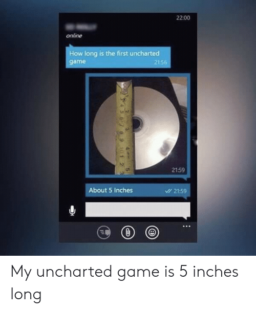 Game, How, and Uncharted: 22:00  online  How long is the first uncharted  game  21:5  2159  About 5 Inches  21:59 My uncharted game is 5 inches long