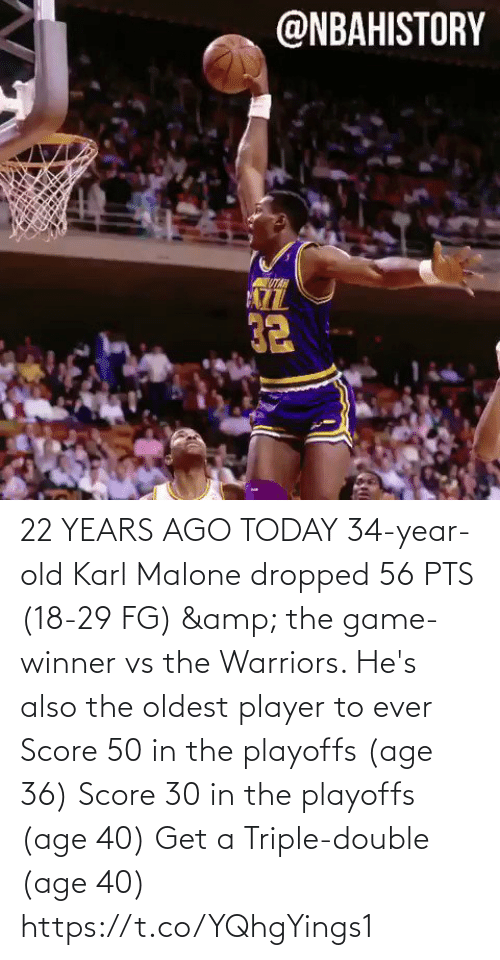 Game Winner: 22 YEARS AGO TODAY 34-year-old Karl Malone dropped 56 PTS (18-29 FG) & the game-winner vs the Warriors.   He's also the oldest player to ever Score 50 in the playoffs (age 36) Score 30 in the playoffs (age 40)  Get a Triple-double (age 40)  https://t.co/YQhgYings1