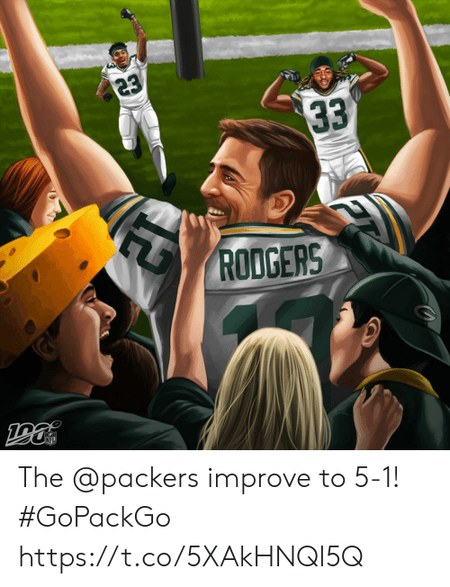 Memes, Nfl, and Packers: 23  33  RODGERS  NFL The @packers improve to 5-1! #GoPackGo https://t.co/5XAkHNQI5Q