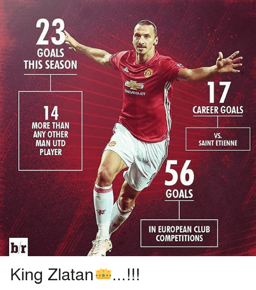 Club, Goals, and Memes: 23  GOALS  THIS SEASON  14  MORE THAN  ANY OTHER  MAN UTD  PLAYER  br  17  CAREER GOALS  VS.  SAINT ETIENNE  56  GOALS  IN EUROPEAN CLUB  COMPETITIONS King Zlatan👑...!!!