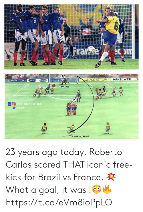 Brazil: 23 years ago today, Roberto Carlos scored THAT iconic free-kick for Brazil vs France. 💥 What a goal, it was !😳🔥 https://t.co/eVm8ioPpLO