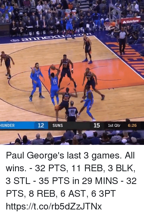 Memes, Games, and 🤖: 24  UNDER  12 SUNS  15 1st Qtr 6:26 Paul George's last 3 games. All wins.  - 32 PTS, 11 REB, 3 BLK, 3 STL - 35 PTS in 29 MINS - 32 PTS, 8 REB, 6 AST, 6 3PT  https://t.co/rb5dZzJTNx