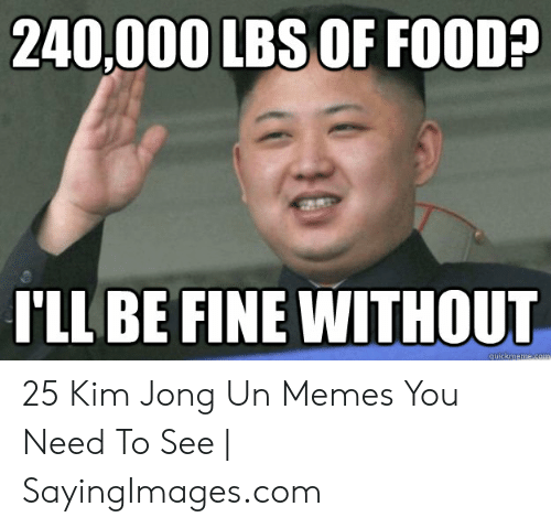Kim Jong Un Memes: 240,000 LBS OF FO0D?  I'LL BE FINE WITHOUT 25 Kim Jong Un Memes You Need To See | SayingImages.com