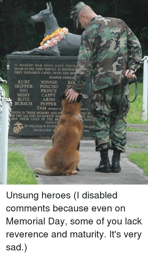 Dogs, Funny, and Prince: 25 MARINE WAR DOGS GAVE THEIR  GUAM IN 194, THEY SERVED AS SENTRIES  THEY EXPLORED CAVES, DETECTED MI  SEMPER FIDELIS  KURT  YONNIE  SKOT  SKIPPER  PONCHO  NIG  PRINCE  MISSY CAPPY  BLITZ  ARNO  BURSCH  PEPPER  TAM OURIEDAT  GIVEN IN THEIR MEMORY AND O  THE SU  OF THE 2nd AND 3rd MARINE WA  OWE THEIR LIVES TO THE BR  BY WILLIAM W  DEDICATED Unsung heroes (I disabled comments because even on Memorial Day, some of you lack reverence and maturity. It's very sad.)
