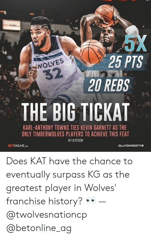 Karl-Anthony Towns: 25 PTS  NOLVES  20 REBS  THE BIG TICKAT  KARL-ANTHONY TOWNS TIES KEVIN GARNETT AS THE  ONLY TIMBERWOLVES PLAYERS TO ACHIEVE THIS FEAT  HIT U/TEXSZ  BETONLINE.A Does KAT have the chance to eventually surpass KG as the greatest player in Wolves' franchise history? 👀 — @twolvesnationcp @betonline_ag