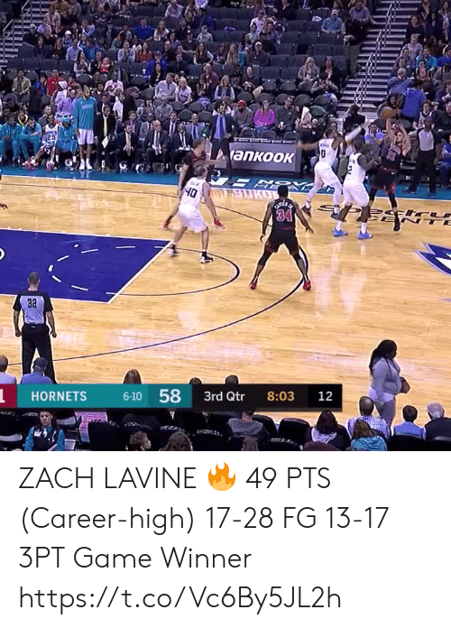 Game Winner: 25  y  ankook  SURO  Oh  34  TE  3a  6-10 58  HORNETS  3rd Qtr  8:03  12 ZACH LAVINE 🔥  49 PTS (Career-high) 17-28 FG 13-17 3PT Game Winner  https://t.co/Vc6By5JL2h