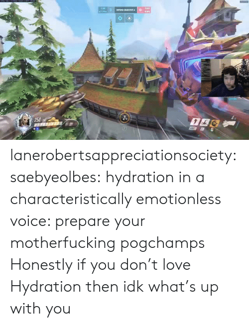 Hydration: 250 lanerobertsappreciationsociety: saebyeolbes: hydration in a characteristically emotionless voice: prepare your motherfucking pogchamps  Honestly if you don't love Hydration then idk what's up with you