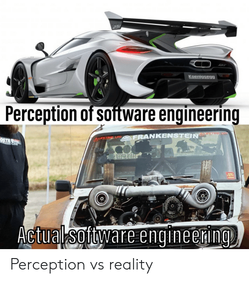 Vs Reality: 251  Koenigsegg  Perception of software engineering  M  FRANKENSTEIN  Actual software engineering Perception vs reality