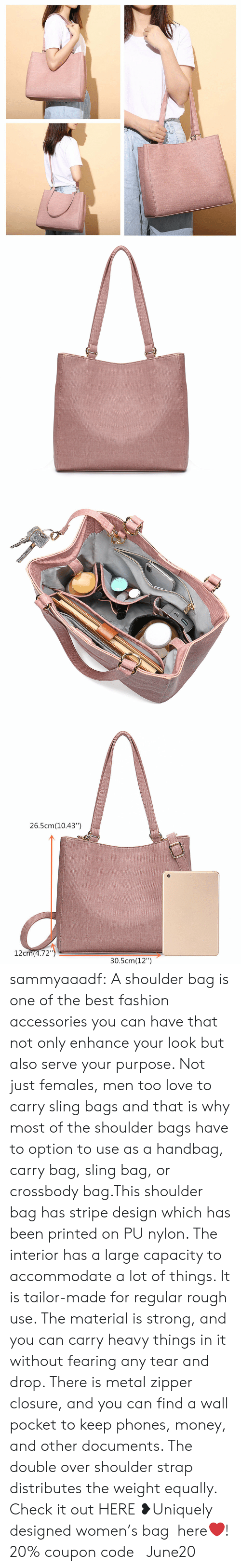 "the double: 26.5cm(10.43"")  12cm(4.72"")  30.5cm(12"") sammyaaadf: A shoulder bag is one of the best fashion accessories you can have that not only enhance your look but also serve your purpose. Not just females, men too love to carry sling bags and that is why most of the shoulder bags have to option to use as a handbag, carry bag, sling bag, or crossbody bag.This shoulder bag has stripe design which has been printed on PU nylon. The interior has a large capacity to accommodate a lot of things. It is tailor-made for regular rough use. The material is strong, and you can carry heavy things in it without fearing any tear and drop. There is metal zipper closure, and you can find a wall pocket to keep phones, money, and other documents. The double over shoulder strap distributes the weight equally.  Check it out HERE ❥Uniquely designed women's bag  here❤! 20% coupon code: June20"