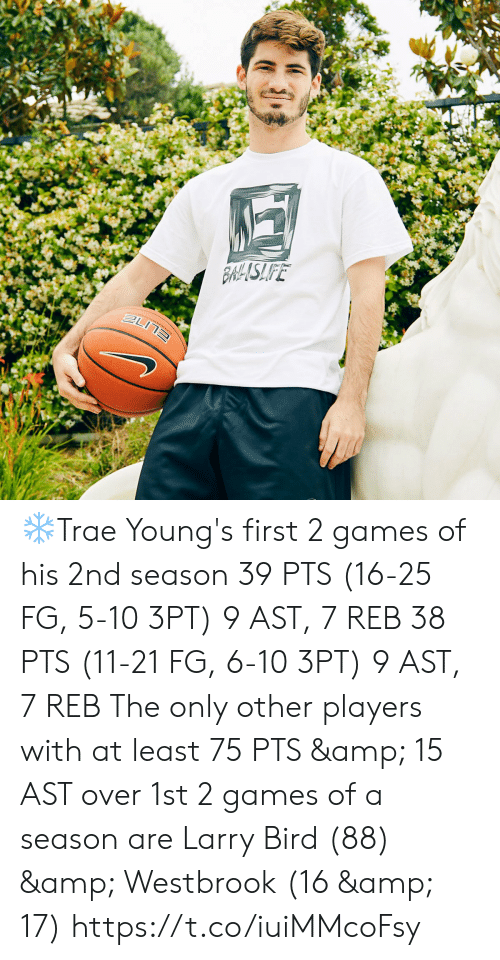 Larry Bird: 26.9  THTISSOT  11  inioetast  KIA  ORLANDO  10  BLANDO  KIA  KIA ❄️Trae Young's first 2 games of his 2nd season  39 PTS (16-25 FG, 5-10 3PT) 9 AST, 7 REB  38 PTS (11-21 FG, 6-10 3PT) 9 AST, 7 REB  The only other players with at least 75 PTS & 15 AST over 1st 2 games of a season are Larry Bird (88) & Westbrook (16 & 17)  https://t.co/iuiMMcoFsy