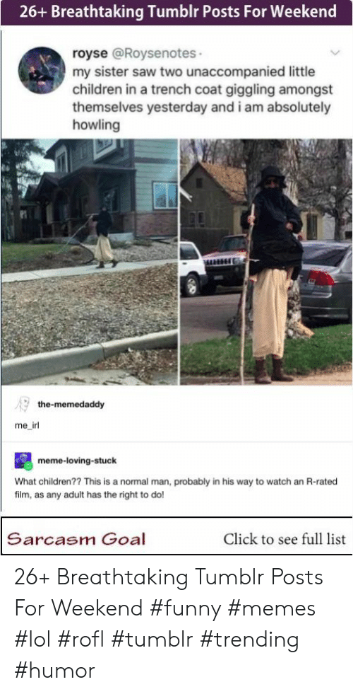 Irl Meme: 26+ Breathtaking Tumblr Posts For Weekend  royse @Roysenotes  my sister saw two unaccompanied little  children in a trench coat giggling amongst  themselves yesterday and i am absolutely  howling  the-memedaddy  me_irl  meme-loving-stuck  What children?? This is a normal man, probably in his way to watch an R-rated  film, as any adult has the right to do!  Sarcasm Goal  Click to see full list 26+ Breathtaking Tumblr Posts For Weekend #funny #memes #lol #rofl #tumblr #trending #humor