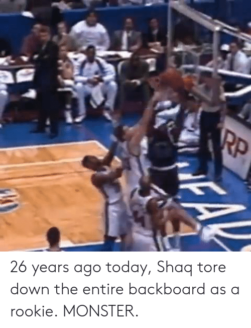 Monster, Shaq, and Today: 26 years ago today, Shaq tore down the entire backboard as a rookie.  MONSTER.