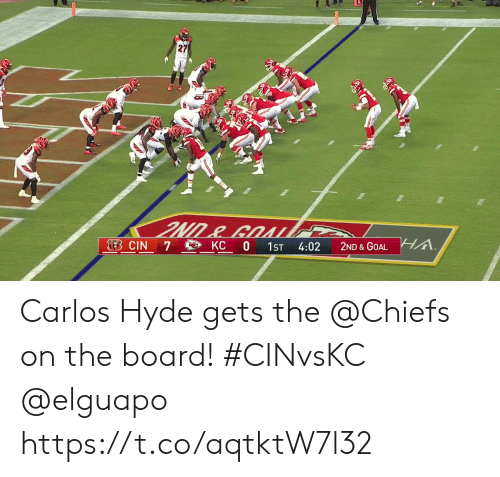 Memes, Chiefs, and Goal: 27  A.  LEB CIN  KC 0  7  1ST  4:02  2ND & GOAL Carlos Hyde gets the @Chiefs on the board! #CINvsKC @elguapo https://t.co/aqtktW7l32
