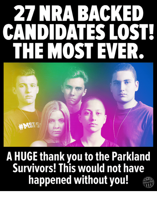 nra: 27 NRA BACKED  CANDIDATES LOST  THE MOST EVER  #MSFS  A HUGE thank you to the Parkland  Survivors! This would not have  happened without you!T