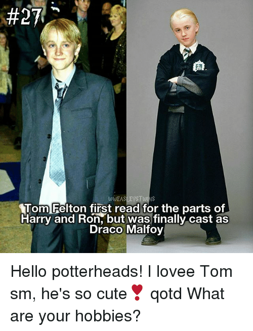 Cute, Hello, and Memes:  #27A  wwEASLEys TWINS  Tom Felton first read for the parts of  Harry and Ron, but was finally cast as  Draco Malfoy Hello potterheads! I lovee Tom sm, he's so cute❣ qotd What are your hobbies?