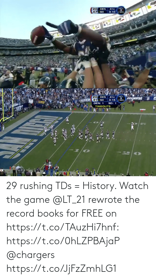 Record: 29 rushing TDs = History.   Watch the game @LT_21 rewrote the record books for FREE on https://t.co/TAuzHi7hnf: https://t.co/0hLZPBAjaP @chargers https://t.co/JjFzZmhLG1