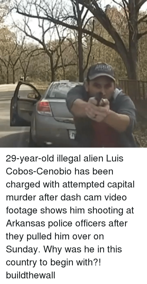 Memes, Police, and Alien: 29-year-old illegal alien Luis Cobos-Cenobio has been charged with attempted capital murder after dash cam video footage shows him shooting at Arkansas police officers after they pulled him over on Sunday. Why was he in this country to begin with?! buildthewall