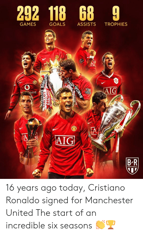 trophies: 292 118 68 9  GAMES  GOALS  ASSISTS  TROPHIES  AIG  one  A  AIG  BR  FOOTBALL  BARCLAYS BANSCLAYS  BARCLAYS  BA Dr  BARCLAS 16 years ago today, Cristiano Ronaldo signed for Manchester United  The start of an incredible six seasons 👏🏆