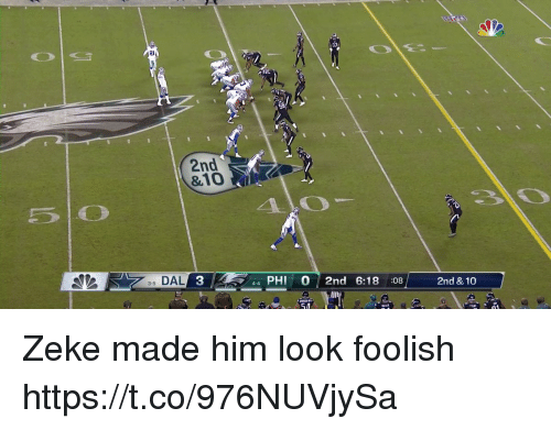 Football, Nfl, and Sports: 2l  2nd  &10  5 0  40  35 DAL  3  44 PHI 0 2nd 6:18 08  2nd & 10  54 Zeke made him look foolish https://t.co/976NUVjySa