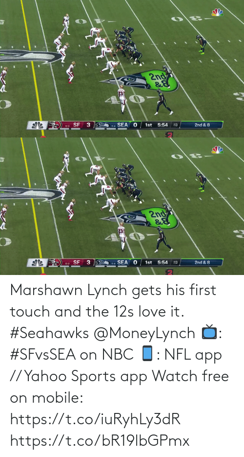 Seahawks: 2nd  12-3 SF  SEA  1st 5:54  11-4  :13  2nd & 8   2nd  12-3 SF 3  11-4 SEA  1st  5:54  :13  2nd & 8 Marshawn Lynch gets his first touch and the 12s love it. #Seahawks @MoneyLynch  📺: #SFvsSEA on NBC 📱: NFL app // Yahoo Sports app Watch free on mobile: https://t.co/iuRyhLy3dR https://t.co/bR19lbGPmx