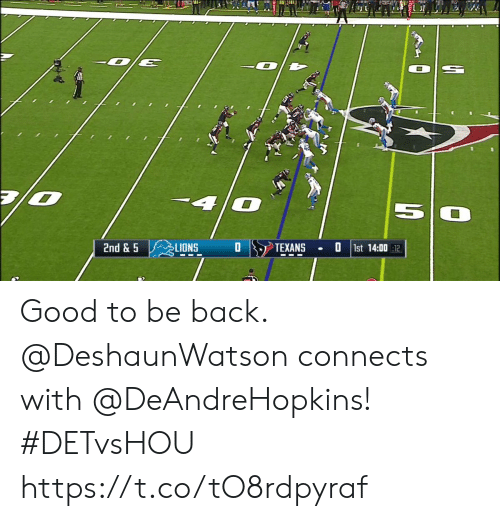 Memes, Good, and Lions: 2nd & 5  LIONS  TEXANS  1st 14:00 12 Good to be back.  @DeshaunWatson connects with @DeAndreHopkins! #DETvsHOU https://t.co/tO8rdpyraf