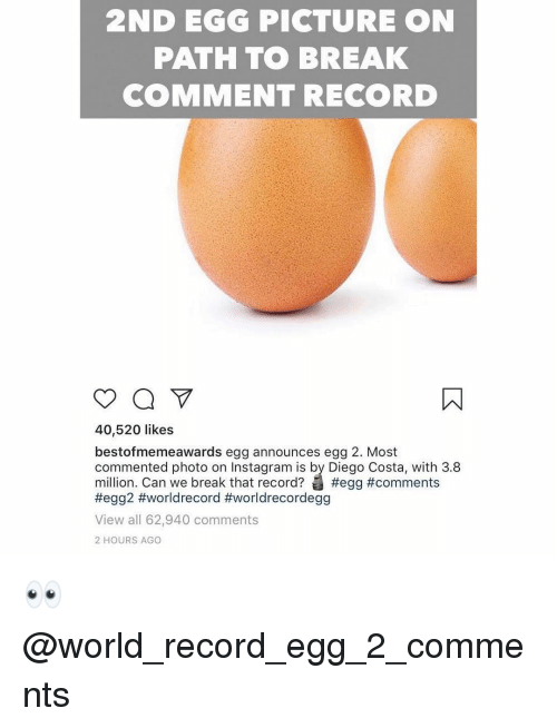 costa: 2ND EGG PICTURE ON  PATH TO BREAK  COMMENT RECORD  40,520 likes  bestofmemeawards egg announces egg 2. Most  commented photo on Instagram is by Diego Costa, with 3.8  million. Can we break that record? #egg #comments  #egg2 #worldrecord #worldrecordegg  View all 62,940 comments  2 HOURS AGO 👀 @world_record_egg_2_comments