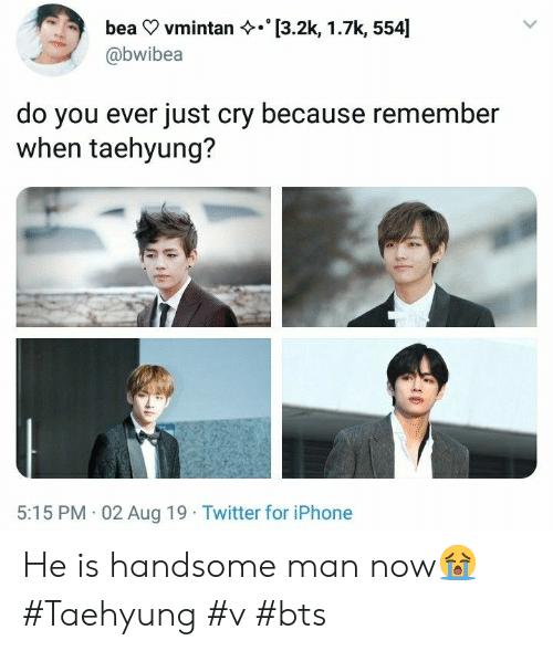 taehyung: [3.2k, 1.7k, 554]  bea vmintan  @bwibea  do you ever just cry because remember  when taehyung?  5:15 PM 02 Aug 19 Twitter for iPhone He is handsome man now😭 #Taehyung #v #bts
