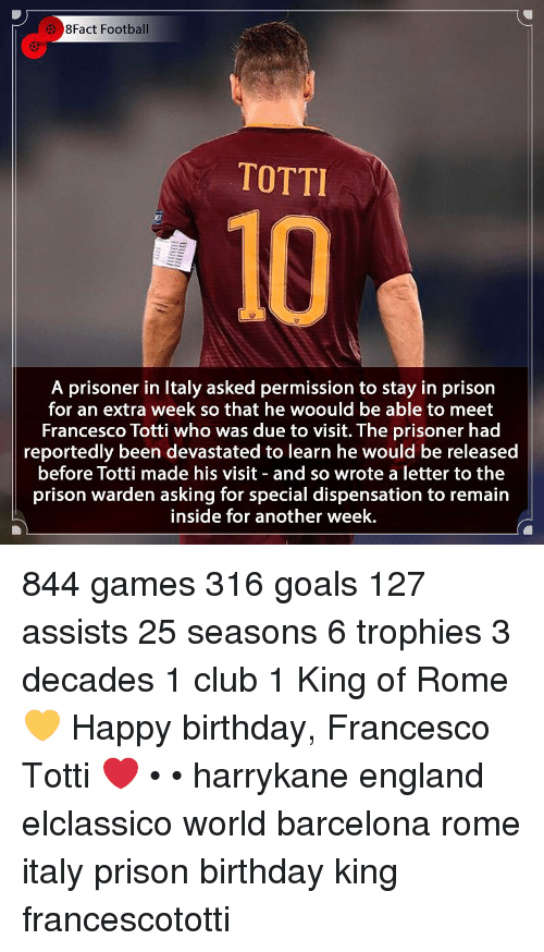 8Fact: 3 8Fact Football  TOTTI  10  A prisoner in Italy asked permission to stay in prison  for an extra week so that he woould be able to meet  Francesco Totti who was due to visit. The prisoner had  reportedly been devastated to learn he would be released  before Totti made his visit and so wrote a letter to the  prison warden asking for special dispensation to remain  inside for another week. 844 games 316 goals 127 assists 25 seasons 6 trophies 3 decades 1 club 1 King of Rome 💛 Happy birthday, Francesco Totti ❤ • • harrykane england elclassico world barcelona rome italy prison birthday king francescototti