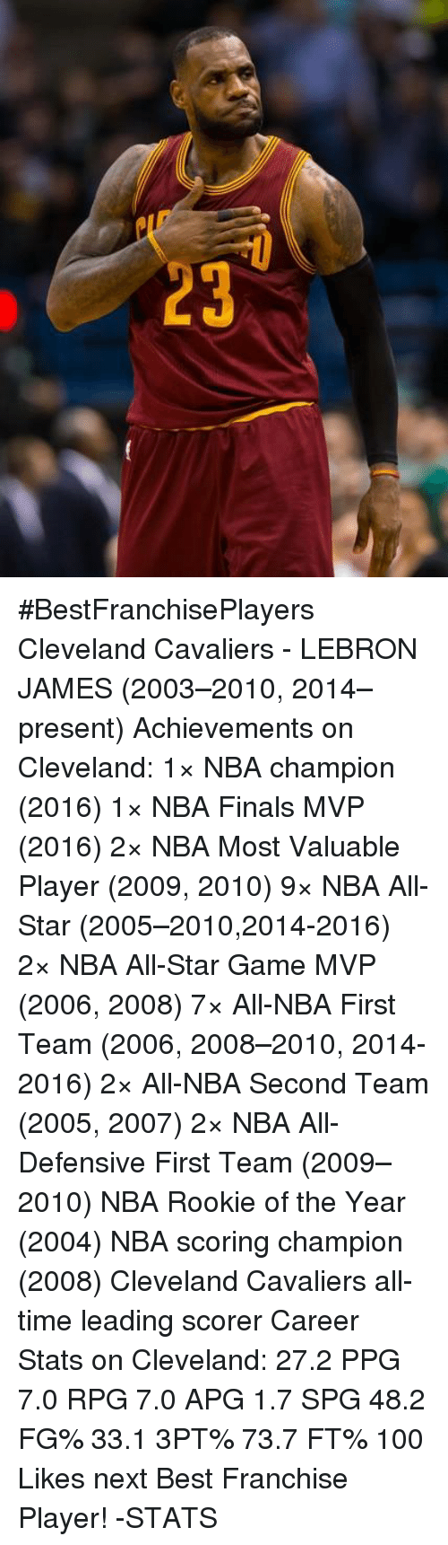 NBA All-Star Game: 3 #BestFranchisePlayers  Cleveland Cavaliers - LEBRON JAMES (2003–2010, 2014–present)  Achievements on Cleveland: 1× NBA champion (2016) 1× NBA Finals MVP (2016) 2× NBA Most Valuable Player (2009, 2010) 9× NBA All-Star (2005–2010,2014-2016) 2× NBA All-Star Game MVP (2006, 2008) 7× All-NBA First Team (2006, 2008–2010, 2014-2016) 2× All-NBA Second Team (2005, 2007) 2× NBA All-Defensive First Team (2009–2010) NBA Rookie of the Year (2004) NBA scoring champion (2008) Cleveland Cavaliers all-time leading scorer  Career Stats on Cleveland: 27.2 PPG 7.0 RPG 7.0 APG 1.7 SPG 48.2 FG% 33.1 3PT% 73.7 FT%  100 Likes next Best Franchise Player!  -STATS