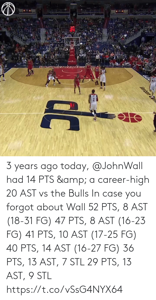 career: 3 years ago today, @JohnWall had 14 PTS & a career-high 20 AST vs the Bulls  In case you forgot about Wall 52 PTS, 8 AST (18-31 FG) 47 PTS, 8 AST (16-23 FG) 41 PTS, 10 AST (17-25 FG) 40 PTS, 14 AST (16-27 FG)  36 PTS, 13 AST, 7 STL 29 PTS, 13 AST, 9 STL   https://t.co/vSsG4NYX64