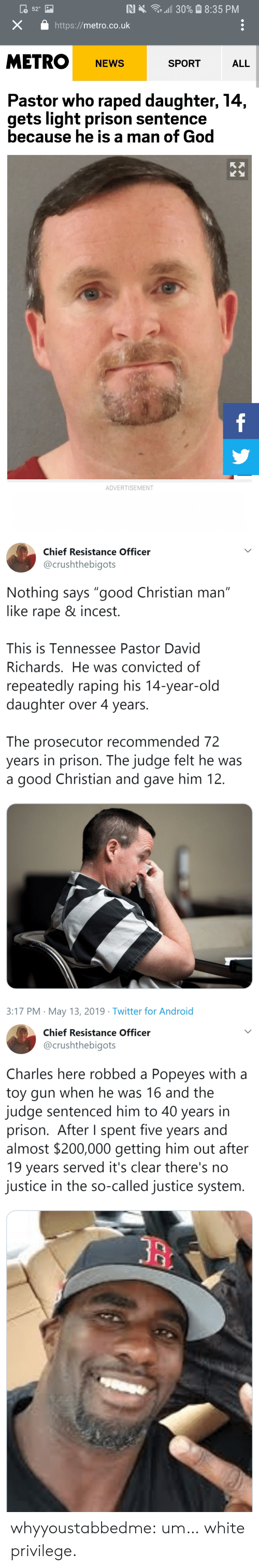 "Convicted: 30% 8:35 PM  N X  52  X  http://metro.co.uk  METRO  SPORT  NEWS  ALL  Pastor who raped daughter, 14,  gets light prison sentence  because he is a man of God  f  ADVERTISEMENT   Chief Resistance Officer  @crushthebigots  Nothing says ""good Christian man""  like rape & incest.  II  This is Tennessee Pastor David  Richards. He was convicted of  repeatedly raping his 14-year-old  daughter over 4 years.  The prosecutor recommended 72  years in prison. The judge felt he was  good Christian and gave him 12.  a  3:17 PM May 13, 2019 Twitter for Android   Chief Resistance Officer  @crushthebigots  Charles here robbed a Popeyes with a  toy gun when he was 16 and the  judge sentenced him to 40 years in  prison. After I spent five years and  almost $200,000 getting him out after  19 years served it's clear there's no  justice in the so-called justice system. whyyoustabbedme:  um… white privilege."