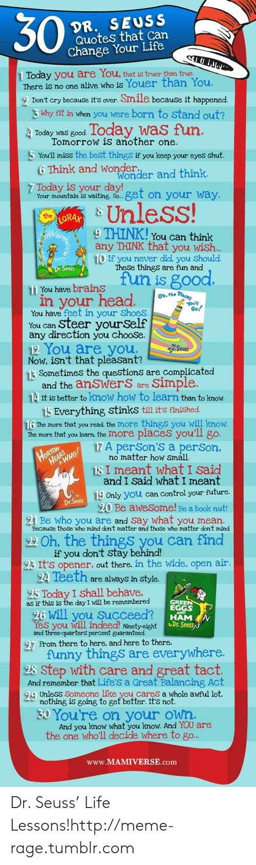 Dr Seuss Quotes: 30  DR. SEUSS  Quotes that Can  Change Your Life  1 Today you are You, that is truer than true.  There is no one alive who is Youer than You.  2 Don't cry because it's over. Smile because it happened.  3 Why fit in when you were born to stand out?  4 Today was good Today was fun.  Tomorrow is another one.  5 You'll miss the best things if you keep your eyes shut.  6 Think and wonder.  Wonder and think.  7 Today is your day!  Your mountain is waiting. So. get on your way.  S Unless!  The  LORAX  9 THINK! You can think  any THINK that you wish..  10 If you never did, you Should.  These things are fun and  De Seuss  fun is good.  11 You have brains  Oh. the Places  in your head.  Go!  You have feet in your Shoes.  You can Steer yourSelf  any direction you choose.  12 You are you.  Now, isn't that pleasant?  13 Sometimes the questions are complicated  and the anSwerS are  14 It is better to know how to learn than to know.  Seus  Simple.  15 Everything stinks till it's finished.  16 The more that you read. the Imore things you will know.  The more that you learn. the Imore places you'll go.  HORTON  HEAR HO!  17A perSon'S a perSon,  no matter how Small.  18 I meant what I said  and I Said what I meant  19 Only you can Control your future.  20 Be awesome! Be a book nut!  21 Be who you are and Say what you mean.  Dr. Seuss  Because those who mind don't matter and those who matter don't mind.  22 Oh, the things you can find  if you don't stay behind!  23 It's opener, out there, in the wide, open air.  24 Teeth are always in style.  25 Today I Shall behave,  as if this is the day I will be remembered  GREEN  EGGS  26 will you Succeed?  Yes you will indeed! Ninety-eight »Dr. Seuss  and three-quarters percent guaranteed  27 From there to here, and here to there.  funny things are everywhere.  28 step with care and great tact.  And remember that Life's a Great Balancing Act  99 Unless Someone like you cares a whole awful lot.  nothing is going to get better. It